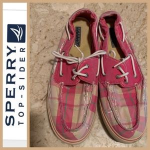 Speery Topsiders in Preppy Pink Plaid. Size 11